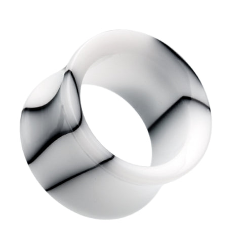 "Marbled Swirl Acrylic Double Flared Ear Gauge Tunnel Plug - 7/16"" (11mm) - White - Sold as a Pair"