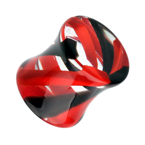 Marbled Stripe Acrylic Double Flared Ear Gauge Plug - 4 GA (5mm) - Red/Black - Sold as a Pair