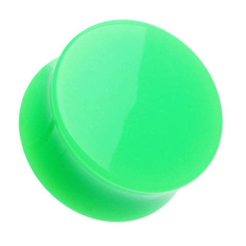 "Neon Colored Acrylic Double Flared Ear Gauge Plug - 3/4"" (19mm) - Green - Sold as a Pair"