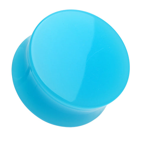 "Neon Colored Acrylic Double Flared Ear Gauge Plug - 7/8"" (22mm) - Light Blue - Sold as a Pair"