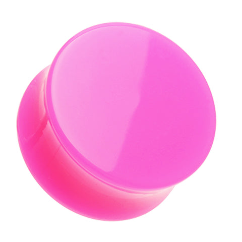 "Neon Colored Acrylic Double Flared Ear Gauge Plug - 15/32"" (12mm) - Pink - Sold as a Pair"