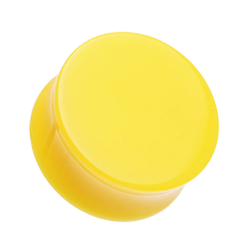"Neon Colored Acrylic Double Flared Ear Gauge Plug - 3/4"" (19mm) - Yellow - Sold as a Pair"