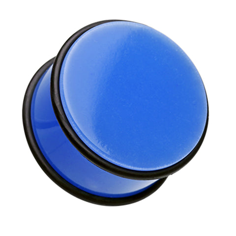 Neon Colored Acrylic No Flare Ear Gauge Plug - 6 GA (4mm) - Blue - Sold as a Pair