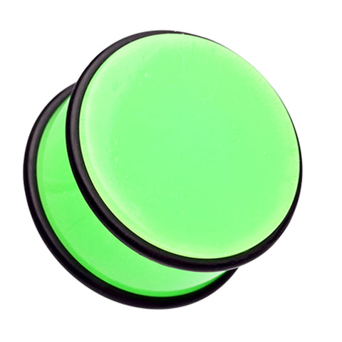 "Neon Colored Acrylic No Flare Ear Gauge Plug - 9/16"" (14mm) - Green - Sold as a Pair"