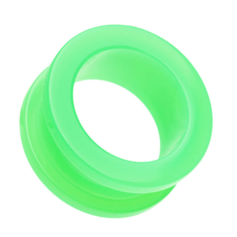 Neon Colored Acrylic Screw-Fit Ear Gauge Tunnel Plug - 10 GA (2.4mm) - Green - Sold as a Pair
