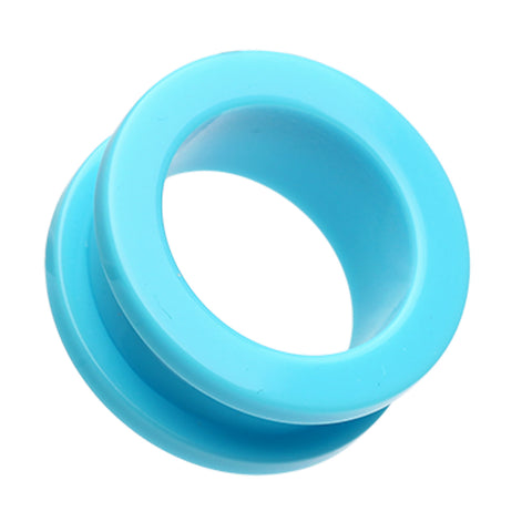 Neon Colored Acrylic Screw-Fit Ear Gauge Tunnel Plug - 0 GA (8mm) - Light Blue - Sold as a Pair