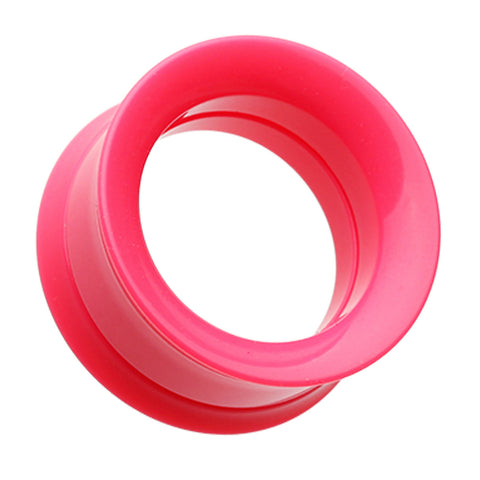 "Solid Smooth Flared Screw-Fit Ear Gauge Tunnel Plug - 1"" (25mm) - Pink - Sold as a Pair"