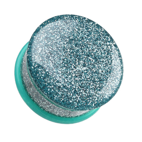 Glitter Shimmer Single Flared Ear Gauge Plug - 00 GA (10mm) - Aqua - Sold as a Pair