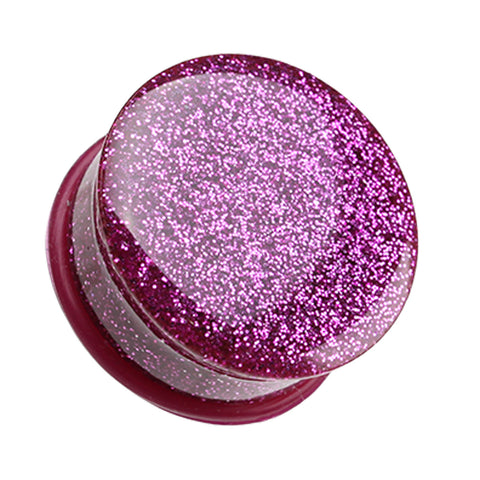 "Glitter Shimmer Single Flared Ear Gauge Plug - 1"" (25mm) - Magenta - Sold as a Pair"