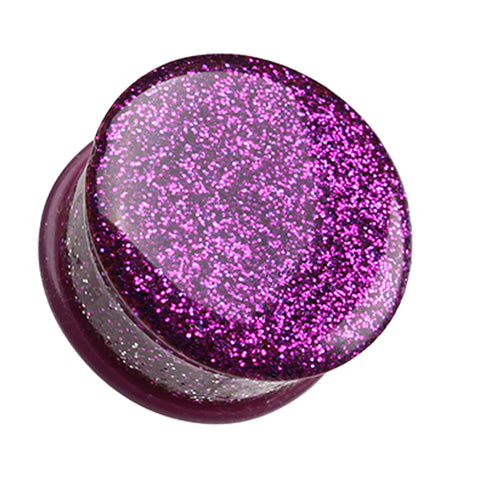 "Glitter Shimmer Single Flared Ear Gauge Plug - 7/8"" (22mm) - Purple - Sold as a Pair"