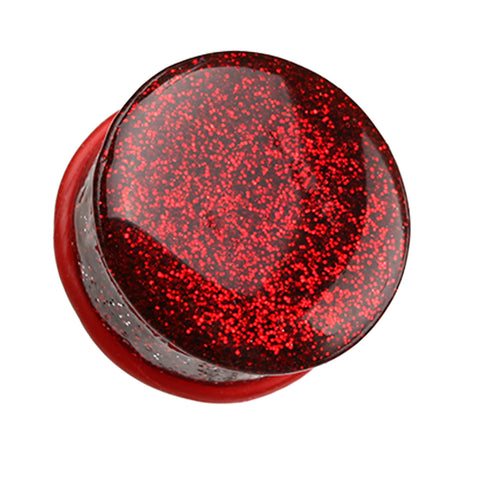 "Glitter Shimmer Single Flared Ear Gauge Plug - 9/16"" (14mm) - Red - Sold as a Pair"