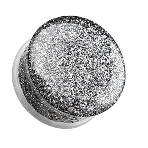 "Glitter Shimmer Single Flared Ear Gauge Plug - 3/4"" (19mm) - Silver - Sold as a Pair"