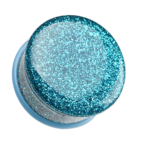 "Glitter Shimmer Single Flared Ear Gauge Plug - 1/2"" (12.5mm) - Teal - Sold as a Pair"