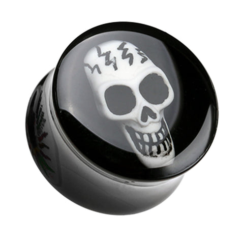 "Electro 3D Skull Resin Inlay Double Flared Ear Gauge Plug - 5/8"" (16mm)  - Sold as a Pair"