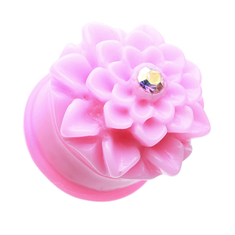 Charming Chrysanthemum Flower Single Flared Ear Gauge Plug - 00 GA (10mm) - Pink - Sold as a Pair
