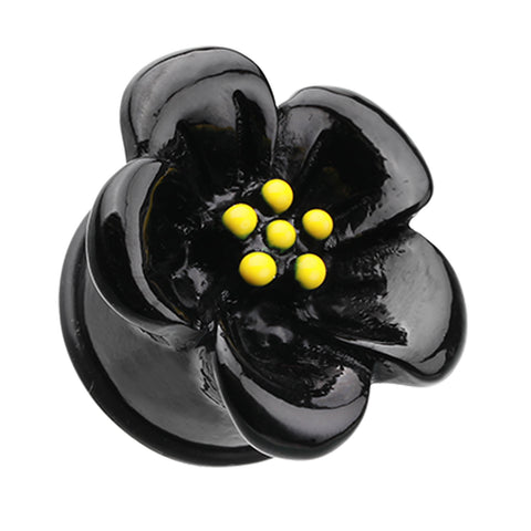 "Adorable Hibiscus Flower Single Flared Ear Gauge Plug - 1"" (25mm) - Black - Sold as a Pair"