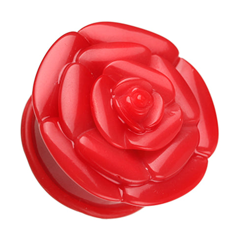 "Rose Blossom Flower Single Flared Ear Gauge Plug - 7/16"" (11mm) - Red - Sold as a Pair"