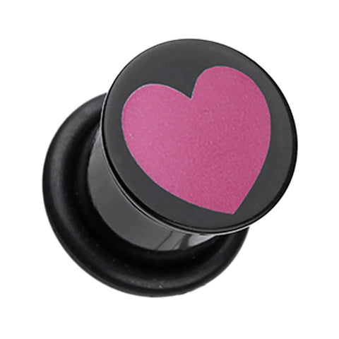 Adorable Heart Acrylic Single Flared Ear Gauge Plug - 00 GA (10mm) - Black/Pink - Sold as a Pair
