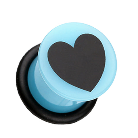 Adorable Heart Acrylic Single Flared Ear Gauge Plug - 2 GA (6.5mm) - Blue/Black - Sold as a Pair