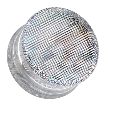 "Square Holographic Prism Glitter Double Flared Ear Gauge Plug - 5/8"" (16mm) - Black - Sold as a Pair"