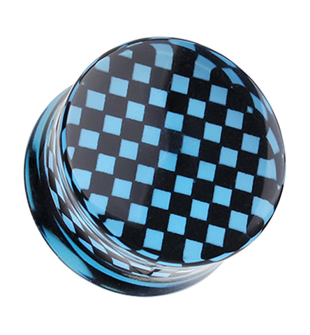 "Classic Checker Inlay Double Flared Ear Gauge Plug - 9/16"" (14mm) - Blue - Sold as a Pair"