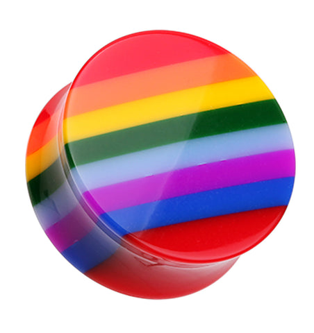 "Rainbow Stripe Double Flared Ear Gauge Plug - 7/16"" (11mm)  - Sold as a Pair"