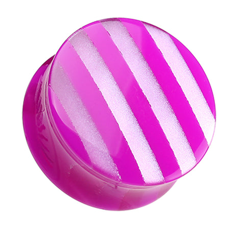 Marbled Stripe Double Flared Ear Gauge Plug - 0 GA (8mm) - Purple - Sold as a Pair