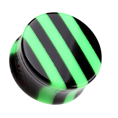"Brilliant Stripes Double Flared Ear Gauge Plug - 9/16"" (14mm) - Green - Sold as a Pair"