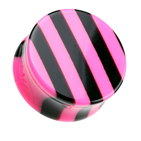Brilliant Stripes Double Flared Ear Gauge Plug - 0 GA (8mm) - Pink - Sold as a Pair