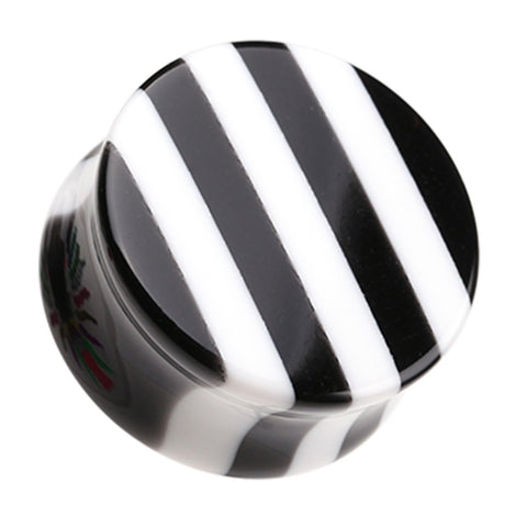 "Brilliant Stripes Double Flared Ear Gauge Plug - 1"" (25mm) - White - Sold as a Pair"