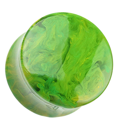 "Lava Infused Double Flared Ear Gauge Plug - 5/8"" (16mm) - Green - Sold as a Pair"
