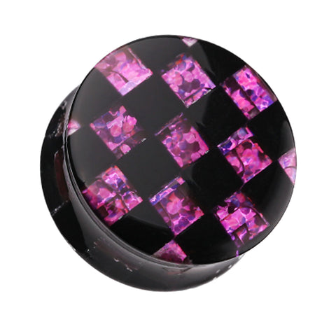 "Marbled Checker Stripe Double Flared Ear Gauge Plug - 9/16"" (14mm) - Purple - Sold as a Pair"