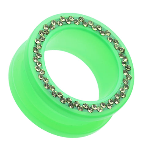 Sparkling Neon Acrylic Flesh Tunnel Ear Gauge Plug - 6 GA (4mm) - Green - Sold as a Pair