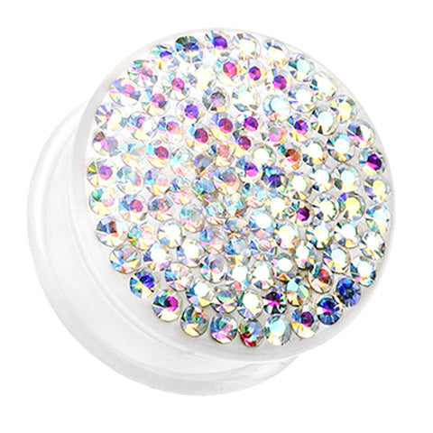 "Brilliant Sparkles White Body Single Flared Ear Gauge Plug - 7/8"" (22mm) - Aurora Borealis - Sold as a Pair"
