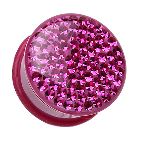 "Brilliant Sparkles Color Body Single Flared Ear Gauge Plug - 7/16"" (11mm) - Fuchsia - Sold as a Pair"