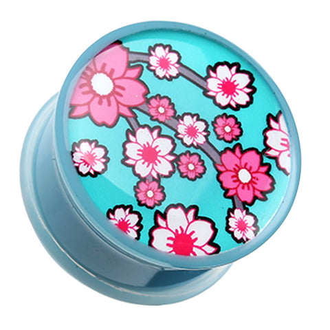 "Adorable Sakura Cherry Blossom Single Flared Ear Gauge Plug - 1/2"" (12.5mm)  - Sold as a Pair"