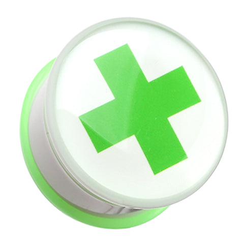 Green Cross Toxic Emergency Single Flared Ear Gauge Plug - 00 GA (10mm)  - Sold as a Pair