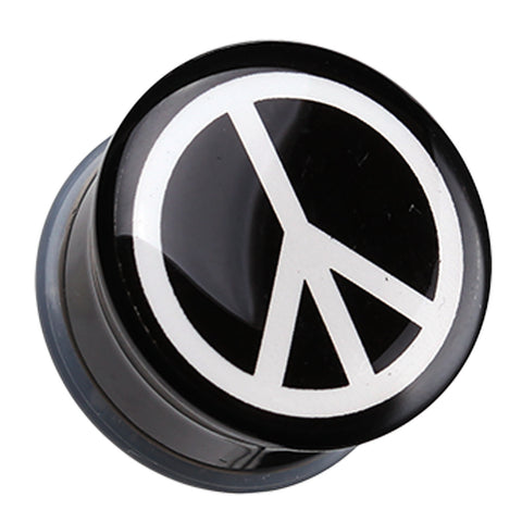 "Peace Logo Single Flared Ear Gauge Plug - 7/16"" (11mm)  - Sold as a Pair"