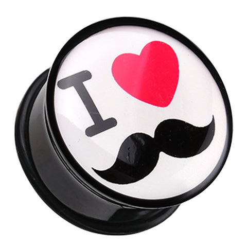 "'I Heart Mustache' Single Flared Ear Gauge Plug - 1"" (25mm)  - Sold as a Pair"