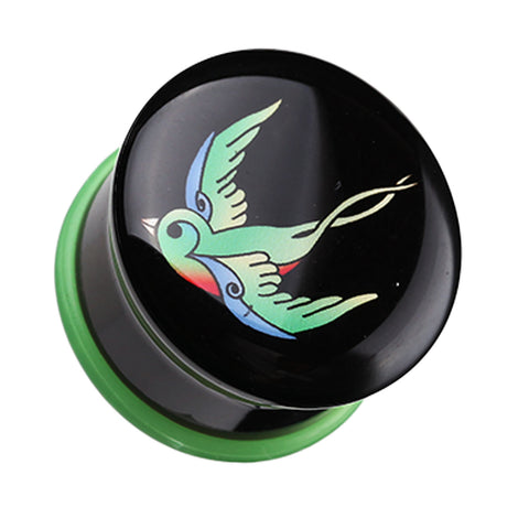 "Rainbow Swallow Single Flared Ear Gauge Plug - 7/16"" (11mm)  - Sold as a Pair"