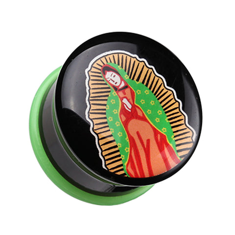 "Our Lady of Guadalupe Single Flared Ear Gauge Plug - 3/4"" (19mm)  - Sold as a Pair"