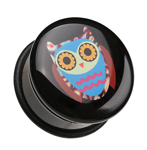 "Retro Owl Single Flared Ear Gauge Plug - 5/8"" (16mm)  - Sold as a Pair"
