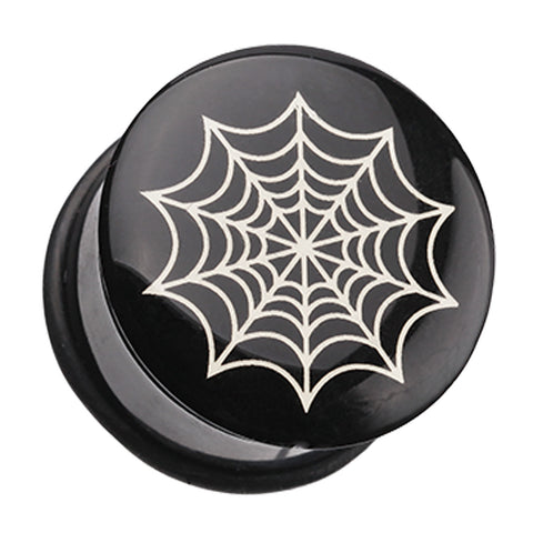 "Spider Web Single Flared Ear Gauge Plug - 1"" (25mm)  - Sold as a Pair"