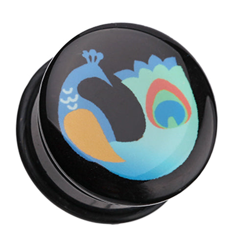 "Vibrant Peacock Single Flared Ear Gauge Plug - 5/8"" (16mm)  - Sold as a Pair"
