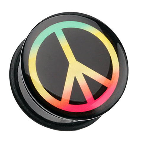 Rasta Peace Sign Single Flared Ear Gauge Plug - 00 GA (10mm)  - Sold as a Pair