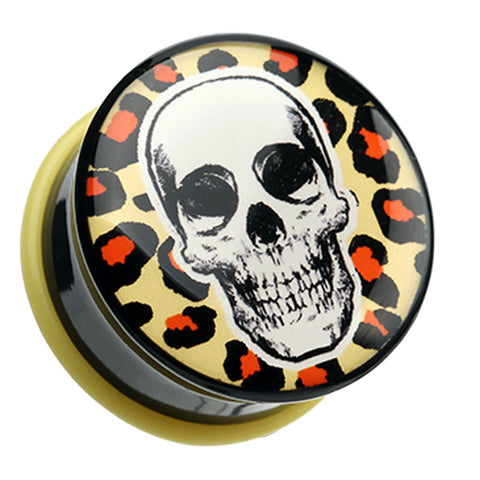Leopard Skull Single Flared Ear Gauge Plug - 2 GA (6.5mm)  - Sold as a Pair