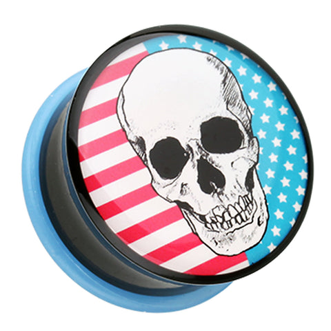 "Skull Americana Single Flared Ear Gauge Plug - 1/2"" (12.5mm)  - Sold as a Pair"