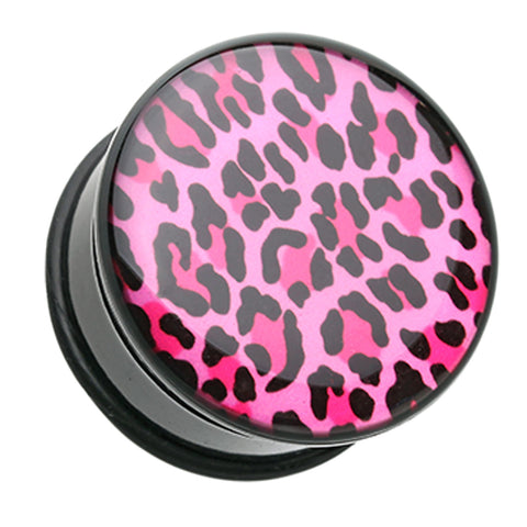 Roseate Pink Leopard Print Single Flared Ear Gauge Plug - 4 GA (5mm)  - Sold as a Pair