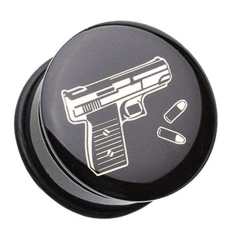 "Glock Pistol Single Flared Ear Gauge Plug - 7/8"" (22mm)  - Sold as a Pair"