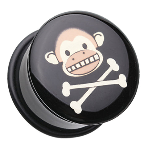 "Island Monkey Pirate Single Flared Ear Gauge Plug - 3/4"" (19mm)  - Sold as a Pair"